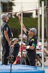 officials measure world record height, men's high jump, adidas Grand Prix Diamond League track and field meet