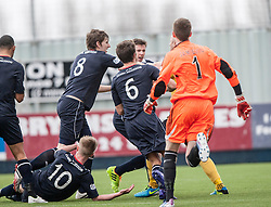 Falkirk players react to Livingston Simon Mensing challenge on Falkirk's Craig Sibbald for the penalty.<br /> Falkirk 1 v 1 Livingston, Scottish Championship game today at The Falkirk Stadium.<br /> © Michael Schofield.