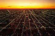 Image of Chicago, Illinois from Willis Tower looking west at sunset, American Midwest by Randy Wells