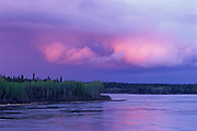 Sunset and storm over the Churchill River<br />Leaf Rapids<br />Manitoba<br />Canada