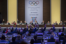 BUENOS AIRES, Oct. 9, 2018  Members of the International Olympic Committee (IOC) vote during the 133rd IOC Session in Buenos Aires, capital of Argentina, on Oct. 8, 2018. Senegal was officially confirmed as the host of the 2022 summer Youth Olympic Games at the IOC Session on Monday.  rtg) (vf) (Credit Image: © [E]Martin Zabala/Xinhua via ZUMA Wire)