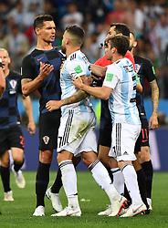 NIZHNY NOVGOROD, June 21, 2018  Nicolas Otamendi (C) of Argentina clashes with a player of Croatia during the 2018 FIFA World Cup Group D match between Argentina and Croatia in Nizhny Novgorod, Russia, June 21, 2018. Croatia won 3-0. (Credit Image: © Li Ga/Xinhua via ZUMA Wire)