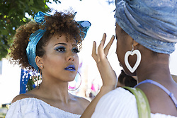 June 16, 2018 - Seattle, Washington, United States - Seattle, Washington: Members of the 'Tides of Change' Ensemble prepare for the Fremont Solstice Parade and Festival. The annual event, now in its 30th year, is produced by the Fremont Arts Council - an organization that supports the arts and artists in and around the Fremont neighborhood of Seattle. The celebration includes more than sixty community-based ensembles, giant puppets, stilt walkers, floats, and more. All floats in the parade are human powered with no motorized electric or electric vehicles. Also prohibited are any written words or logos, no live animals and no real weapons. The parade ends with the Solstice Celebration at Gas Works Park at its terminus. (Credit Image: © Paul Gordon via ZUMA Wire)