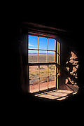 Looking out the window of the west cabin across Antelope Valley, Pipe Spring National Monument, Arizona