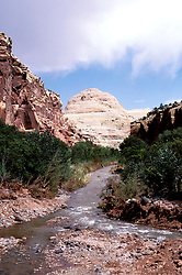 Utah: Capitol Reef National Park.  Land form and Fremont River.  .Photo copyright Lee Foster, www.fostertravel.com.Photo #: utcapi101, 510/549-2202, lee@fostertravel.com