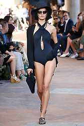 Model Barbara Fialho walks on the runway during the Alberta Ferretti Fashion Show during Milan Fashion Week Spring Summer 2018 held in Milan, Italy on September 20, 2017. (Photo by Jonas Gustavsson/Sipa USA)