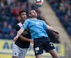 Falkirk's Kieran Duffie and Dundee's Craig Beattie.<br /> Falkirk 3 v 1 Dundee, 21/9/2013.<br /> ©Michael Schofield.