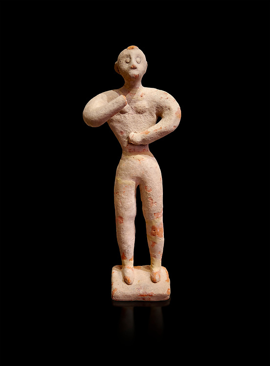 Minoan clay male figurine in the attitude of worship, Chamezi 1900-1700 BC; Heraklion Archaeological  Museum, black background. .<br /> <br /> If you prefer to buy from our ALAMY PHOTO LIBRARY  Collection visit : https://www.alamy.com/portfolio/paul-williams-funkystock/minoan-art-artefacts.html . Type -   Heraklion   - into the LOWER SEARCH WITHIN GALLERY box. Refine search by adding background colour, place, museum etc<br /> <br /> Visit our MINOAN ART PHOTO COLLECTIONS for more photos to download  as wall art prints https://funkystock.photoshelter.com/gallery-collection/Ancient-Minoans-Art-Artefacts-Antiquities-Historic-Places-Pictures-Images-of/C0000ricT2SU_M9w