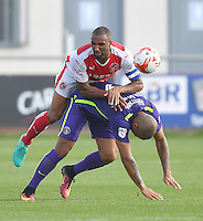 Fleetwood Town's Nathan Pond battles with Charlton Athletic's Josh Magennis<br /> <br /> Photographer Dave Howarth/CameraSport<br /> <br /> The EFL Sky Bet League One - Fleetwood Town v Charlton Athletic - Saturday 10th September 2016 - Highbury stadium - Fleetwood<br /> <br /> World Copyright © 2016 CameraSport. All rights reserved. 43 Linden Ave. Countesthorpe. Leicester. England. LE8 5PG - Tel: +44 (0) 116 277 4147 - admin@camerasport.com - www.camerasport.com