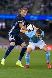 February 23, 2019 - Melbourne, VIC, U.S. - MELBOURNE, VIC - FEBRUARY 23: Melbourne City defender Scott Jamieson (3) competes for the ball against Melbourne Victory forward Ola Toivonen (11) at round 20 of the Hyundai A-League Soccer between Melbourne City FC and Melbourne Victory on February 23, 2019 at Marvel Stadium, VIC. (Photo by Speed Media/Icon Sportswire) (Credit Image: © Speed Media/Icon SMI via ZUMA Press)