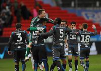 Fotball Tippeligaen Rosenborg - Sandnes Ulf<br /> 28 april 2013<br /> Lerkendal Stadion, Trondheim<br /> <br /> En jublende glad keeper Sean McDermott feirer seieren over Rosenborg sammen med resten av Sandnes Ulf-gutta<br /> <br /> <br /> Foto : Arve Johnsen, Digitalsport