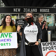 No Men in Women's Sports, protest in New Zealand House, London