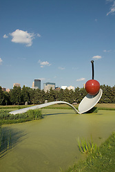 Minnesota, Twin Cities, Minneapolis-Saint Paul: Sculpture Spoonbridge and Cherry by Claes Oldenburg at the Minnesota Sculpture Garden next to the Walker Art Center..Photo mnqual208-75225.Photo copyright Lee Foster, www.fostertravel.com, 510-549-2202, lee@fostertravel.com.