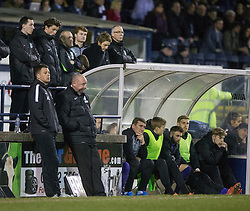 Hibernian's manager Alan Stubbs with Leeann Dempster, Chief Executive behind the dugout. <br /> Raith Rovers 2 v 1 Hibernian, Scottish Championship game player at Stark's Park, 18/3/2016.