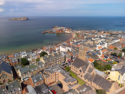 Aerial view from drone of North Berwick in East Lothian, Scotland, UK