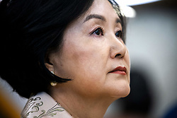 Mrs. Kim Jung-sook listens to US President Donald J. Trump (not pictured) in the Oval Office of the White House in Washington, DC, USA, 11 April 2019. President Moon is expected to ask President Trump to reduce sanctions on North Korea in an attempt to jump start nuclear negotiations between North Korea and the US.