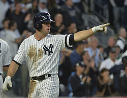 October 18, 2017 - Bronx, NY, USA - The New York Yankees' Brett Gardner celebrates after scoring a third-inning run against the Houston Astros in Game 5 of the American League Championship Series at Yankee Stadium in New York on Wednesday, Oct. 18, 2017. (Credit Image: © Howard Simmons/TNS via ZUMA Wire)
