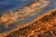 Waves crashing on the shore Lake Muskoka at sunset with white pines needles<br /> Muskoka Beach<br /> Ontario<br /> Canada