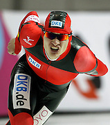 Patrick Beckert of Germany, competes in the men's 10,000-meter World Cup speedskating competition at the Utah Olympic Oval in Kearns, Utah, Saturday, Feb. 19, 2011. (AP Photo/Colin E Braley)