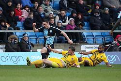 Lee Mansell of Bristol Rovers tackles Stephen McGinn of Wycombe Wanderers - Mandatory byline: Robbie Stephenson/JMP - 27/02/2016 - FOOTBALL - Adams Park - Wycombe, England - Wycombe Wanderers v Bristol Rovers - Sky Bet League Two