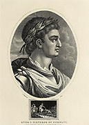 Otto I [Otho I] (23 November 912–7 May 973), traditionally known as Otto the Great was East Francian king from 936 and Holy Roman Emperor from 962 until his death in 973. Copperplate engraving From the Encyclopaedia Londinensis or, Universal dictionary of arts, sciences, and literature; Volume VIII;  Edited by Wilkes, John. Published in London in 1810.