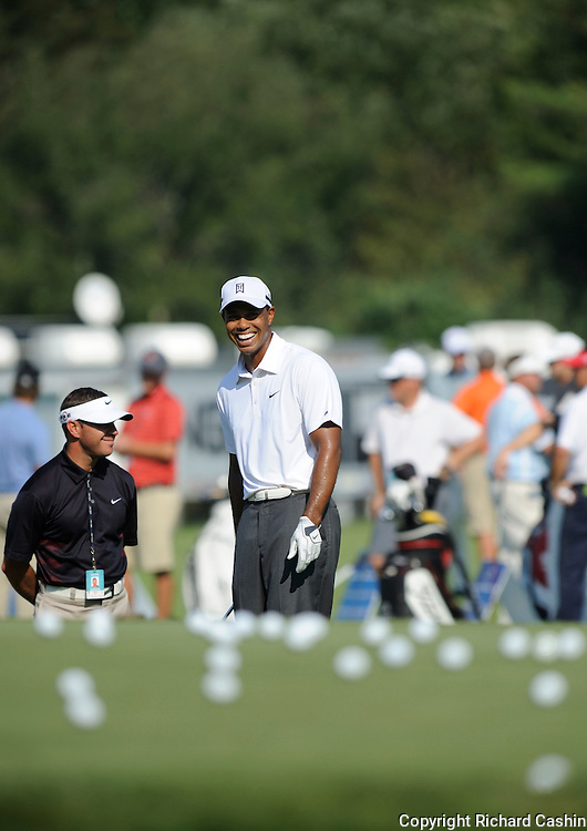01 September 2010:  Tiger Woods during the practice rounds at the Deutsche Bank Championship at TPC Boston in Norton, MA. ****** NORTH & SOUTH AMERICA SALES ONLY ----- NO AGENTS ----- NORTH & SOUTH AMERICA SALES ONLY ******