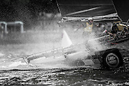 Image licensed to Lloyd Images.<br /> The Extreme Sailing Series 2015. Act 4 - Cardiff. UK<br /> SAP Extreme Sailing Team skippered by Jes Gram-Hansen (DEN) and Rasmus Kostner (DEN) and crewed by Mads Emil Stephensen (DEN), Thierry Douillard (FRA) and Brad Farrand (NZL).<br /> Credit: Lloyd Images