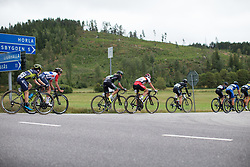 The break approaches the second gravel section of the Crescent Vargarda - a 152 km road race, starting and finishing in Vargarda on August 13, 2017, in Vastra Gotaland, Sweden. (Photo by Balint Hamvas/Velofocus.com)