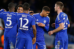 Ruben Loftus-Cheek of Chelsea, making his First Team debut, is congratulated by Mikel John Obi after Chelsea win 3-1 - Photo mandatory by-line: Rogan Thomson/JMP - 07966 386802 - 10/12/2014 - SPORT - FOOTBALL - London, England - Stamford Bridge - Sporting Clube de Portugal - UEFA Champions League Group G.