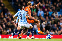 Memphis Depay of Lyon takes on Ilkay Gundogan of Manchester City - Mandatory by-line: Robbie Stephenson/JMP - 19/09/2018 - FOOTBALL - Etihad Stadium - Manchester, England - Manchester City v Lyon - UEFA Champions League Group F