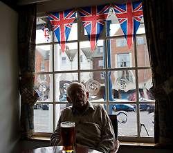 LOCATION, UK  29/04/2011. The Royal Wedding of HRH Prince William to Kate Middleton. ..Drinkers enjoy the occasion on TV as they watch from the conservative club in Marlborough. (No name given)....Photo credit should read Ian Forsyth/LNP. Please see special instructions. © under license to London News Pictures
