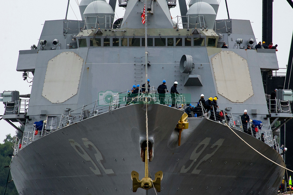 ANCHORAGE, Alaska (Aug. 15, 2018) Sailors assigned to the Arleigh Burke-class guided-missile destroyer USS Momsen (DDG 92) prepare to moor at the Port of Alaska in Anchorage. Momsen is visiting Anchorage in conjunction with the Arctic Maritime Symposium. The event, hosted by Alaskan Command, will provide a framework for experienced senior military leaders, intelligence analysts, interagency operators, and Arctic maritime subject matter experts to discuss the strategic challenges associated with Arctic maritime operations.  (U.S. Air Force photo by Staff Sgt. James Richardson/Released)180815-F-GO452-0235