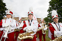 The Laconia High School marching band gets ready to lead the LHS Homecoming parade on Friday evening.  (Karen Bobotas/for the Laconia Daily Sun)