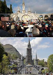Atmosphere during final mass of Pope Benedict XVI for the sick at the Basilica of the Rosary (Basilique Notre-Dame du Rosaire) at the Lourdes Sanctuary in southwestern France, on September 15, 2008 (top) and Basilique Notre-Dame-du-Rosaire de Lourdes and around is empty in Lourdes, France on April 10, 2020, (bottom) as the Catholic pilgrimage site was closed to the public due on the twenty-fourth day of a strict lockdown across France to attempt to halt the spread of COVID-19, caused by the novel coronavirus. Lourdes is about to experience an unprecedented week of Easter, without faithful. Photo by Thibaud Moritz/JMP/ABACAPRESS.COM. Photo by Patrick Bernard/Thibaud Moritz/JMP/ABACAPRESS.COM