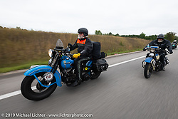 John Bartman (L) and Bill Page riding in the Cross Country Chase motorcycle endurance run from Sault Sainte Marie, MI to Key West, FL. (for vintage bikes from 1930-1948). Stage 1 from Sault Sainte Marie to Ludington, MI USA. Friday, September 6, 2019. Photography ©2019 Michael Lichter.