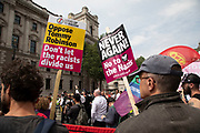 Opposition groups gather aginst a demonstration calling for the release from jail of former English Defence League, EDL, leader Tommy Robinson on June 9th 2018 in London, England, United Kingdom. Far right groups gathered shouting Free Tommy Robinson, blaming the police for his arrest and calling for free speech were barracked and heckled by the anri racism protesters.