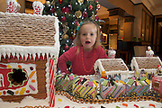 27/11/2014 Repro free The wonder of Christmas! <br /> Three Year old Elise O Brien took a peek at Hotel Meyrick's stunning creation of a traditional Gingerbread train station and set which is on display in the parlour lounge until Christmas Eve when it will be donated to the St Bernadette's children's ward at University College hospital Galway, www.hotelmeyrick.ie. <br />  . Photo:Andrew Downes