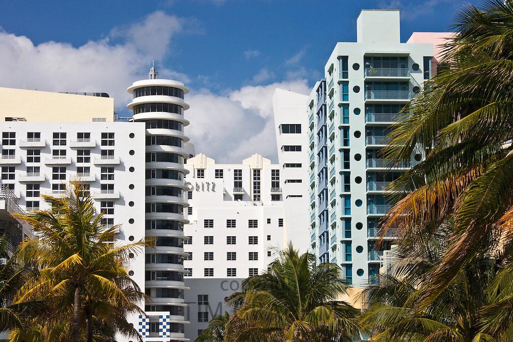 Art deco architecture Royal Palm hotel and high rise apartment blocks South Beach, Miami, Florida, USA
