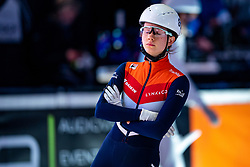 Selma Poutsma of Netherlands in action on 1500 meter during ISU World Short Track speed skating Championships on March 06, 2021 in Dordrecht