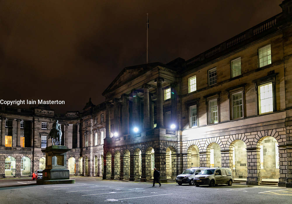 Night view of Court of Session buildings in  Edinburgh, Scotland, UK
