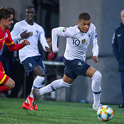 ANDORRA LA VELLA, ANDORRA. June 1.  Kylian Mbappé #10 of France defended by Marc Rebes #4 of Andorra  during the Andorra V France 2020 European Championship Qualifying, Group H match at the Estadi Nacional d'Andorra on June 11th 2019 in Andorra (Photo by Tim Clayton/Corbis via Getty Images)