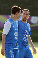 FOOTBALL - UEFA EURO 2012 - KIRCHA - UKRAINE - GROUP STAGE - GROUP D - FRANCE TRAINING - 12/06/2012 - PHOTO PHILIPPE LAURENSON / DPPI - KIRSHA TRAINING CENTER -      FRENCH PLAYERS - SAMIR NASRI AND FRANCK RIBERY
