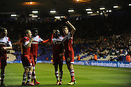 Middlesbrough's Daniel Sanchez Ayala (26 right) celebrates after scoring his teams 2nd goal during the Skybet football league championship match, Birmingham city v Middlesbrough at St.Andrew's in Birmingham, England on Sat 7th Dec 2013. pic by Jeff Thomas/Andrew Orchard sports photography.