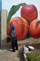 Italie. Sardaigne. Peintures murales dans le village de San Sperate. Angelo Pilloni, artiste peintre muraliste. //  Italy, Sardinia, Mural painting on the village of San Sperate. Angelo Pilloni, artist wall painter.
