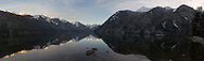 A panorama of Chilliwack Lake including Mount Redoubt, Mount Edgar, and Nodoubt Peak.