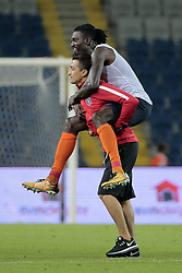 August 2, 2017 - Istanbul, Turquie - ISTANBUL, TURKEY - AUGUST 02 : Emmanuel Adebayor of Istanbul Basaksehir celebrates the victory after the UEFA Champions League third qualifying round 2nd leg match between Istanbul Basaksehir and Club Brugge at the Basaksehir Fatih Terim Stadium on August 02, 2017 in Istanbul, Turkey, 2/08/17 (Credit Image: © Panoramic via ZUMA Press)