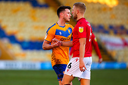 Ollie Clarke of Mansfield Town shakes hands with Harry Davis of Morecambe at full time - Mandatory by-line: Ryan Crockett/JMP - 27/02/2021 - FOOTBALL - One Call Stadium - Mansfield, England - Mansfield Town v Morecambe - Sky Bet League Two