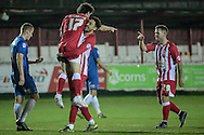 Shay McCartan (Accrington Stanley) and Billy Kee (Accrington Stanley) celebrate the third goal during the Sky Bet League 2 match between Accrington Stanley and Hartlepool United at the Fraser Eagle Stadium, Accrington, England on 19 January 2016. Photo by Mark P Doherty.