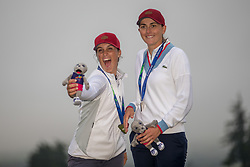 The French team represented by Justine Dreher and Manon Molle celebrate their silver medal following the presentation during day eleven of the 2018 European Championships at Gleneagles PGA Centenary Course. PRESS ASSOCIATION Photo. Picture date: Sunday August 12, 2018. See PA story GOLF European. Photo credit should read: Kenny Smith/PA Wire. RESTRICTIONS: Editorial use only, no commercial use without prior permission