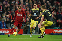 Football - 2019 / 2020 Premier League - Liverpool vs. Southampton<br /> <br /> Liverpool's Roberto Firmino under pressure from Southampton's Jack Stephens<br /> <br /> Colorsport / Terry Donnelly